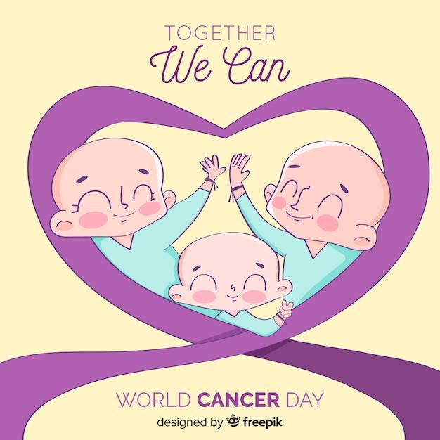 平らな世界がんの日の背景 無料ベクター