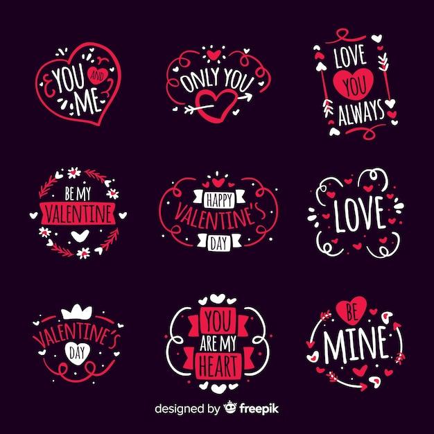 手描きのバレンタインバッジパック 無料ベクター