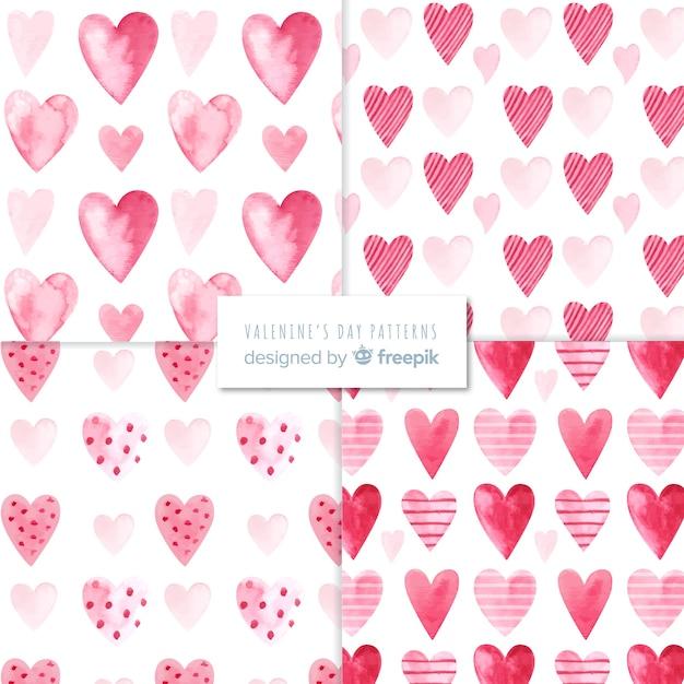 バレンタインデーのパターンコレクション 無料ベクター