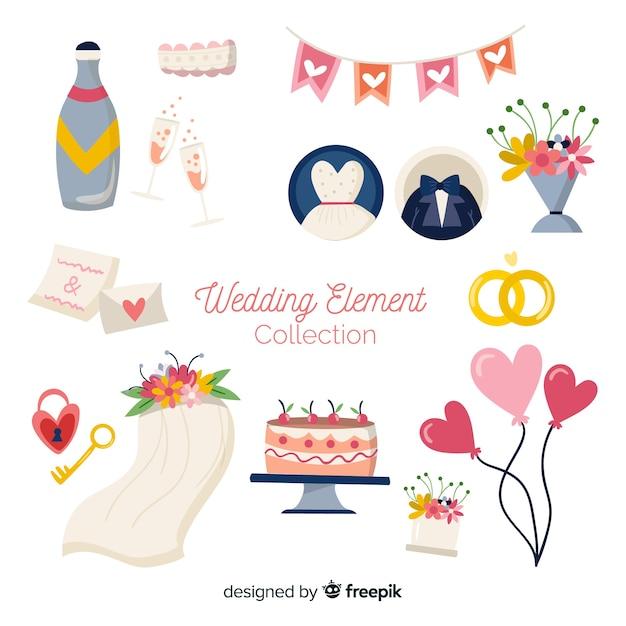 平らな結婚式の要素のコレクション 無料ベクター