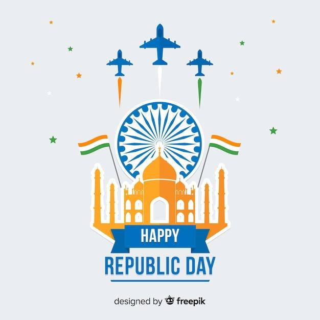 フラットインド共和国記念日の背景 無料ベクター