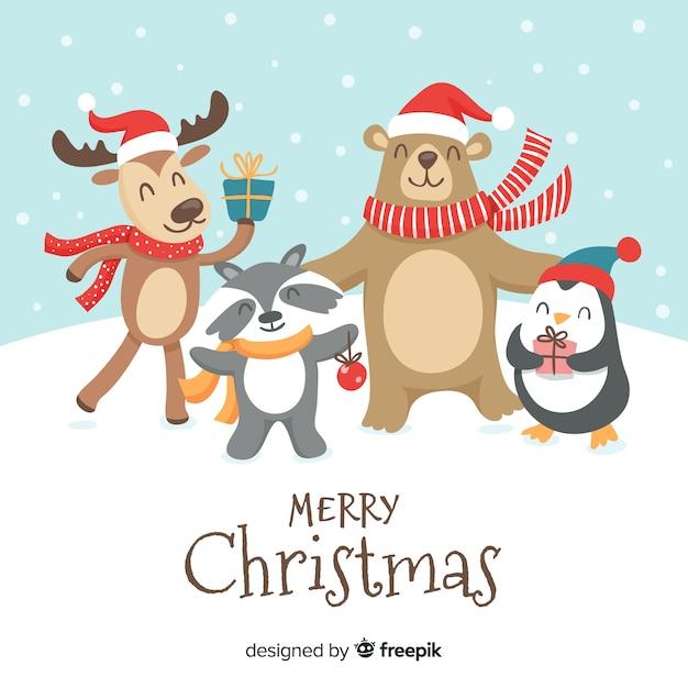 クリスマスの動物 無料ベクター