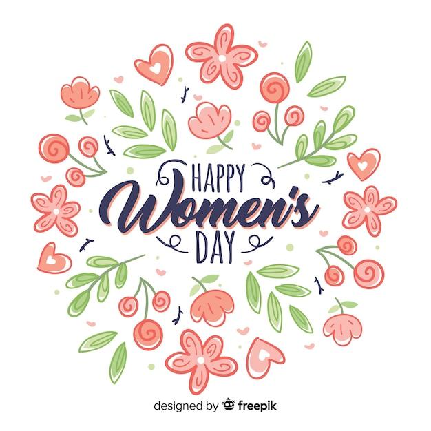 Цветочный женский день фон Бесплатные векторы