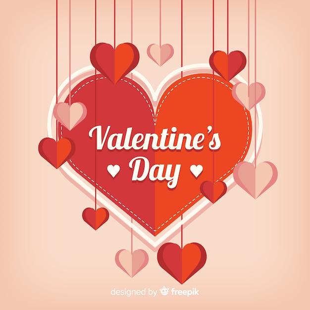 День святого валентина с бумажными сердечками Бесплатные векторы