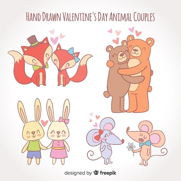 手描きバレンタイン動物カップルパック 無料ベクター