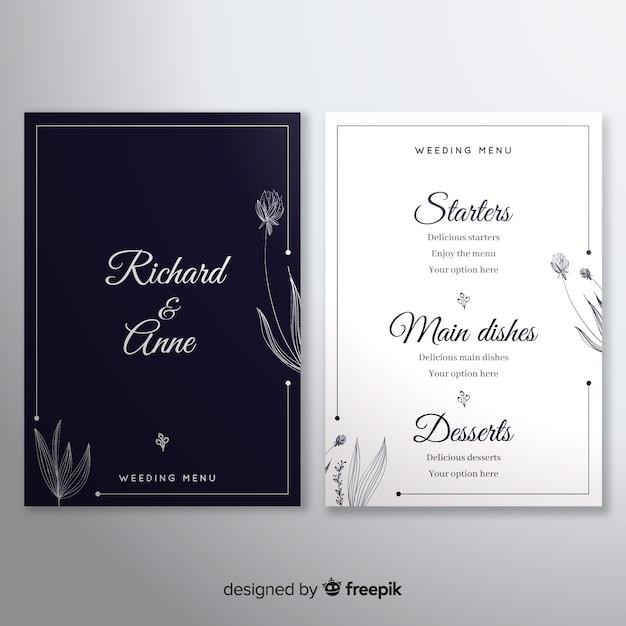 Шаблон свадебного меню Бесплатные векторы