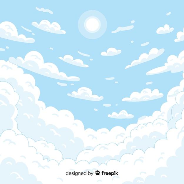 手描きの空の背景 無料ベクター