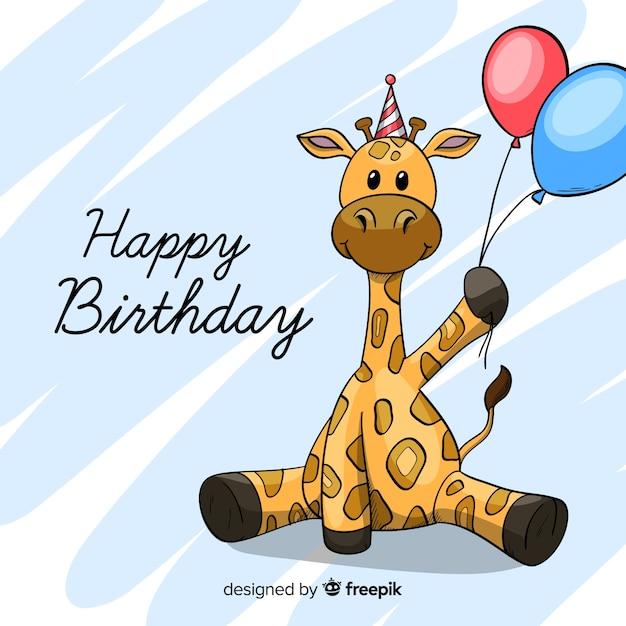 平らな誕生日動物の背景 無料ベクター