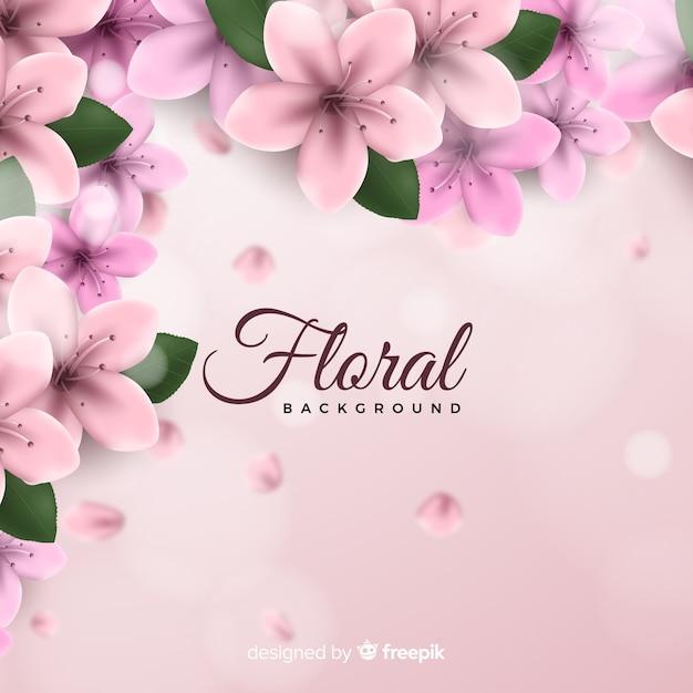 リアルな花の背景 無料ベクター