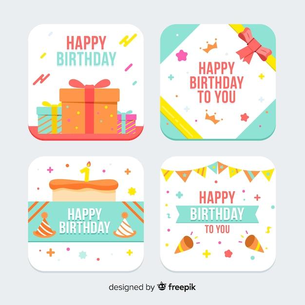 Плоская коллекция поздравительных открыток Бесплатные векторы