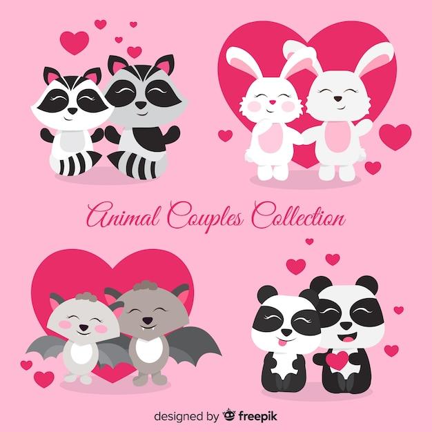 Коллекция милых пар животных на день святого валентина Бесплатные векторы