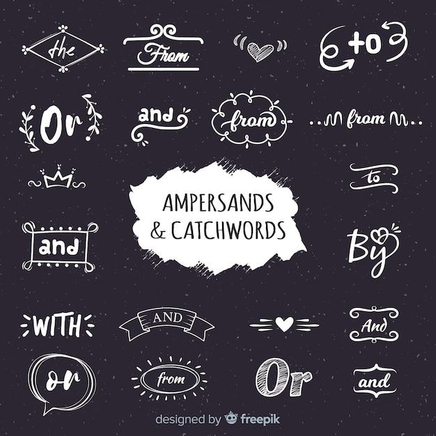 Свадебные надписи амперсанды и лозунги Бесплатные векторы