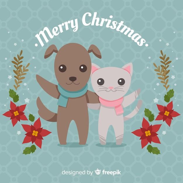 かわいいクリスマスのアニマルズの背景 無料ベクター
