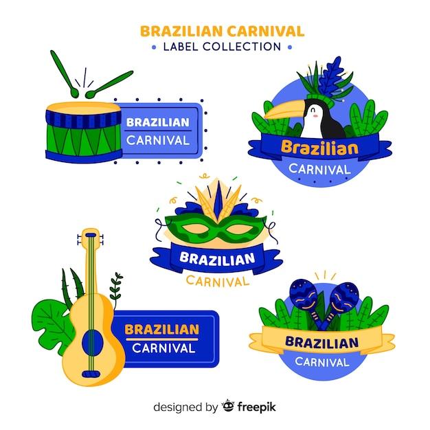 ブラジルのカーニバルラベルコレクション 無料ベクター