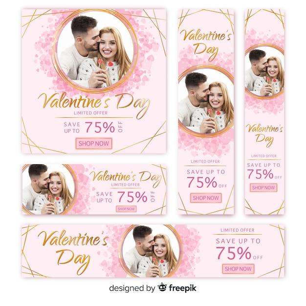 バレンタインデーのウェブバナーコレクション 無料ベクター