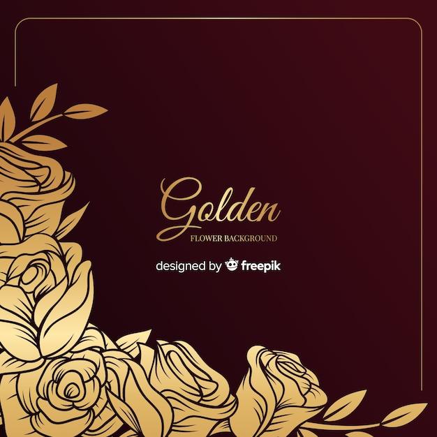手描きの黄金の花の背景 無料ベクター