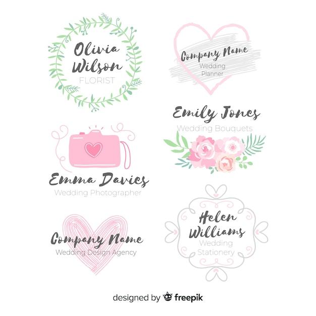 手描きの結婚式のロゴのコレクション 無料ベクター