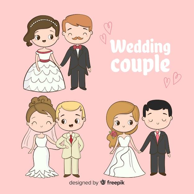 手描きの結婚式のカップルコレクション 無料ベクター