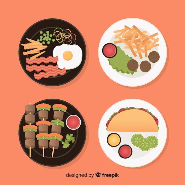 Коллекция пищевых блюд Бесплатные векторы