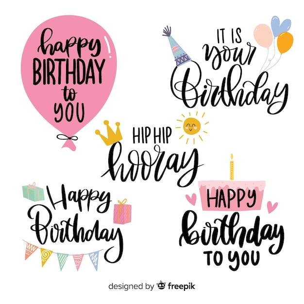 Коллекция этикеток на день рождения Бесплатные векторы