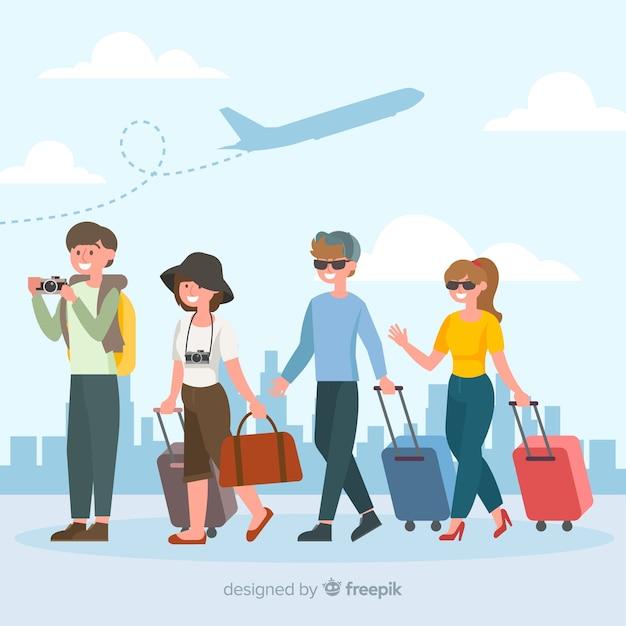 Люди, путешествующие коллекция Бесплатные векторы