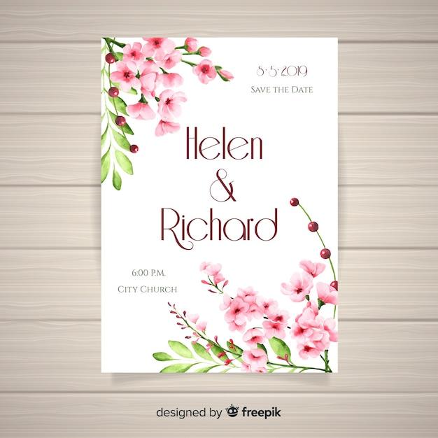 水彩花のウェディングカードテンプレート Premiumベクター