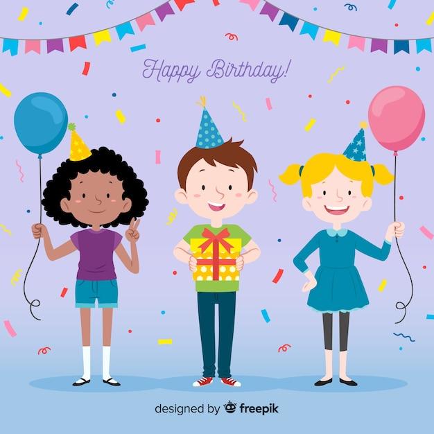 Коллекция детей в дни рождения Бесплатные векторы