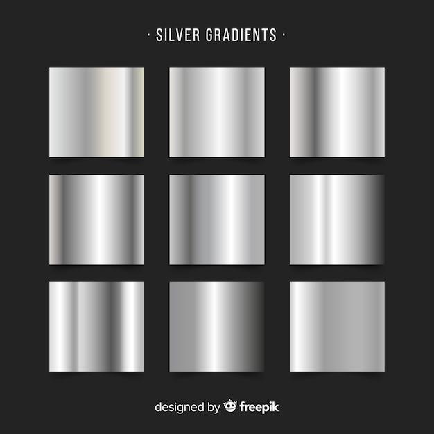 銀グラデーションコレクション 無料ベクター