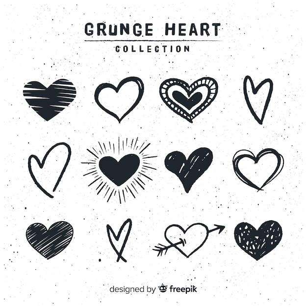 Коллекция рисованной сердца Premium векторы