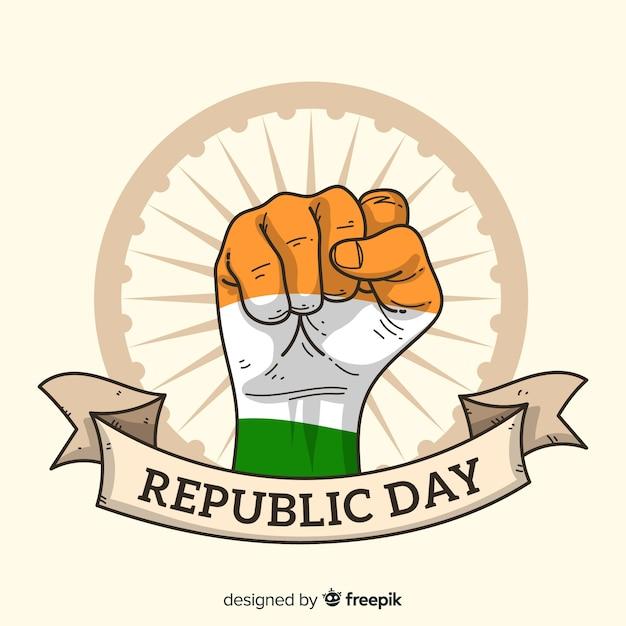 手描きインド共和国記念日の背景 無料ベクター