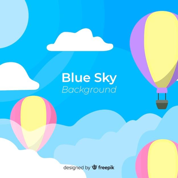 平らな青い空を背景 無料ベクター