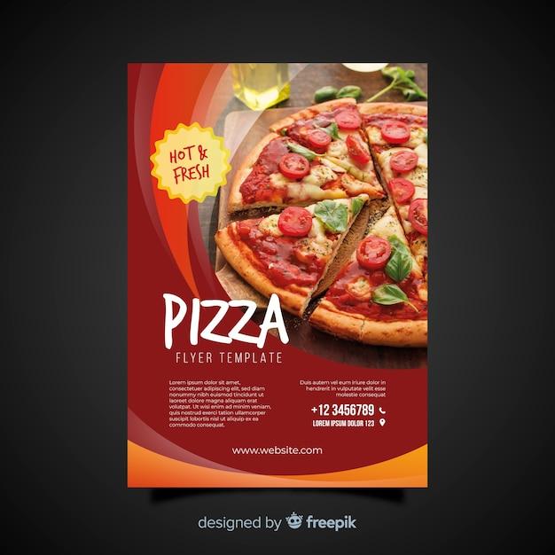 写真のピザのチラシ 無料ベクター