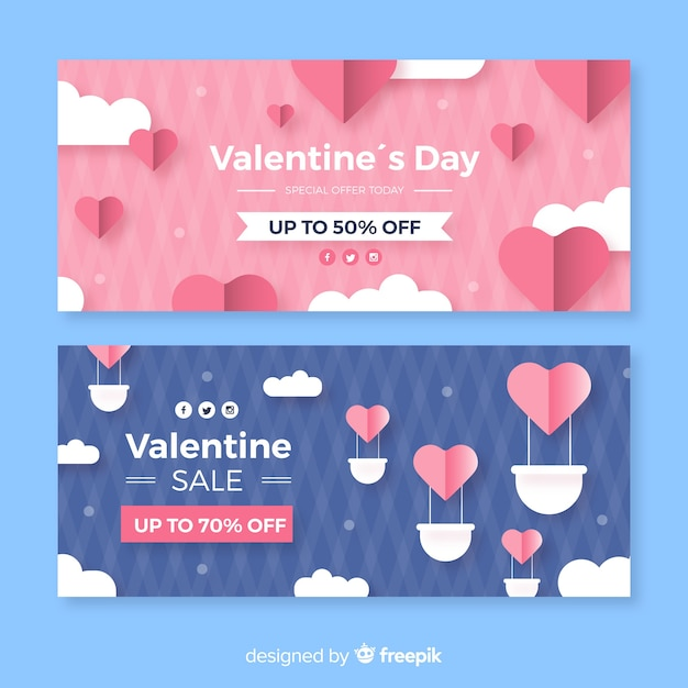 Воздушный шар валентин продажа баннер Бесплатные векторы