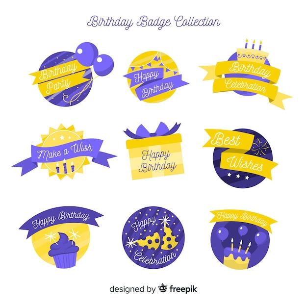 誕生日バッジコレクション 無料ベクター