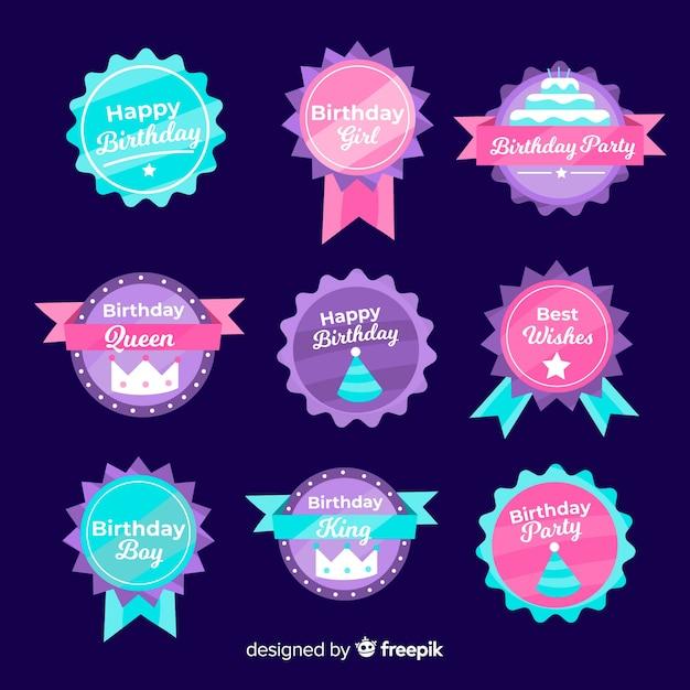 Коллекция бейджей на день рождения Бесплатные векторы