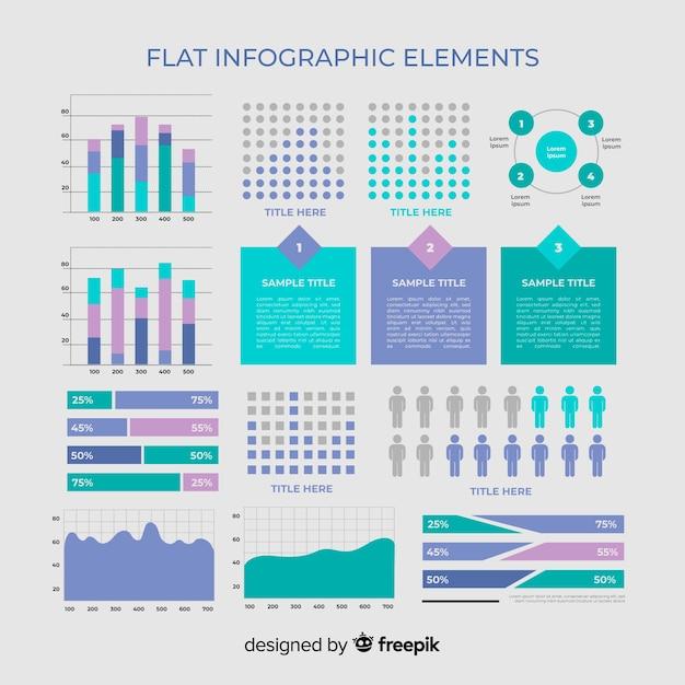 Плоский инфографики элемент коллекции Бесплатные векторы