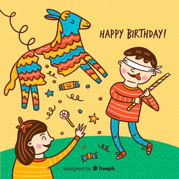 Ручной обращается день рождения детей Бесплатные векторы