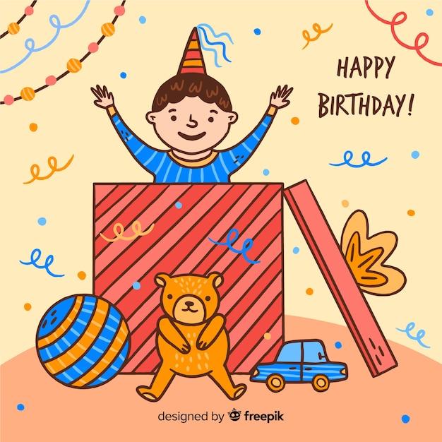 手描きの誕生日の子供たち 無料ベクター