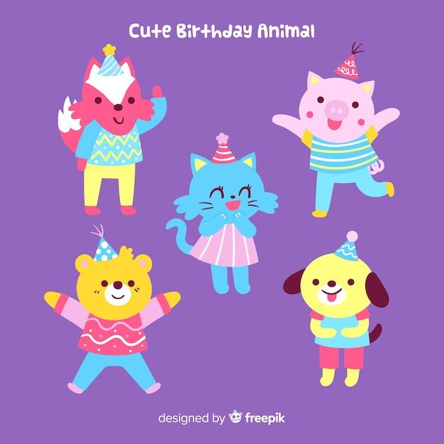 かわいい誕生日動物の背景 無料ベクター