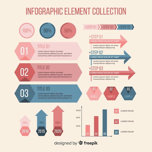 平らなインフォグラフィック要素のコレクション 無料ベクター