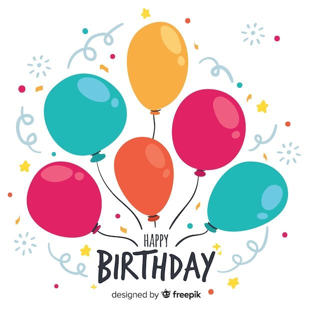 Ручной обращается день рождения с фоном воздушных шаров Бесплатные векторы