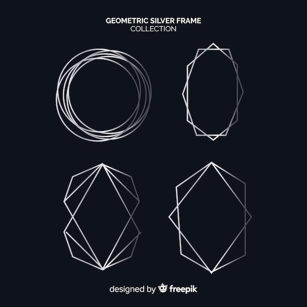 シルバーの幾何学的なフレームコレクション 無料ベクター