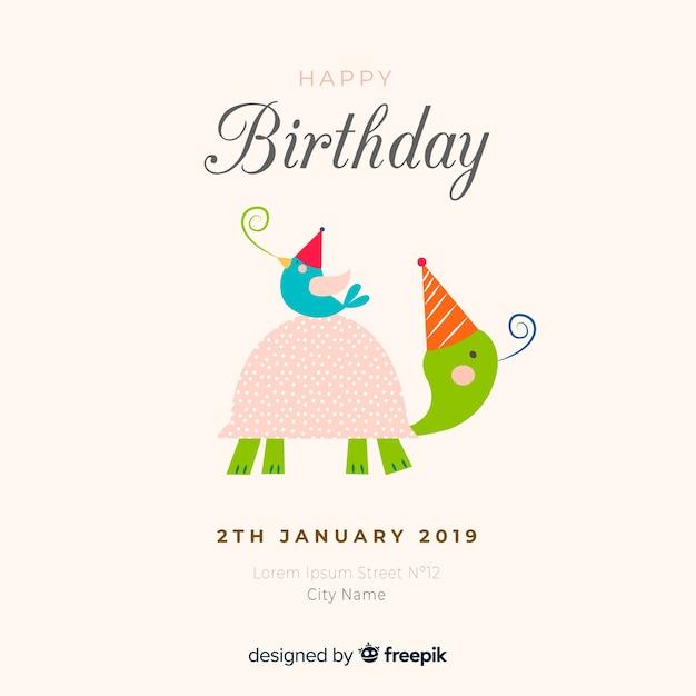 手描きの誕生日動物の背景 無料ベクター