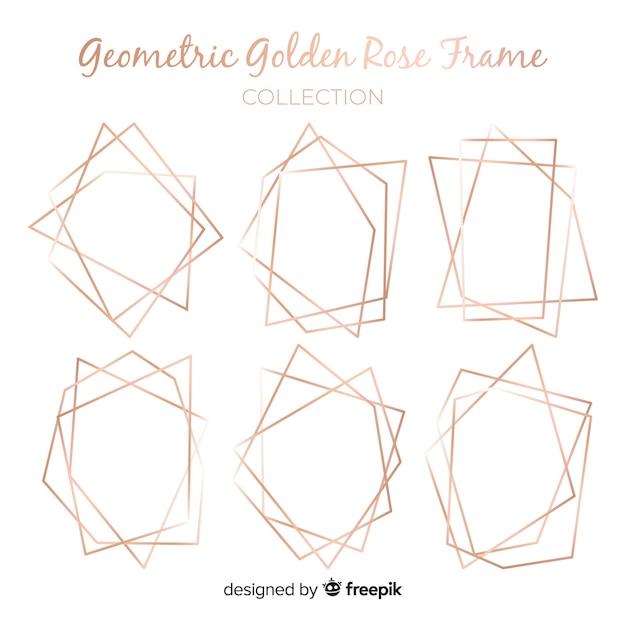 ローズゴールドの幾何学的なフレームコレクション 無料ベクター