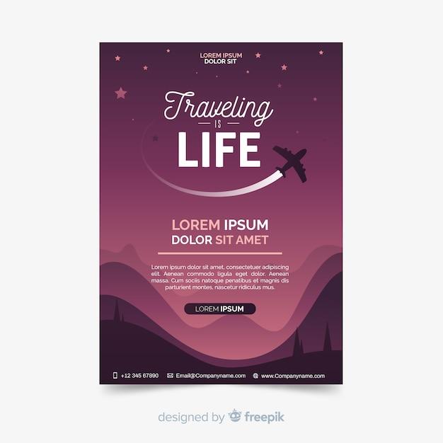 Самолет силуэт путешествия плакат Бесплатные векторы