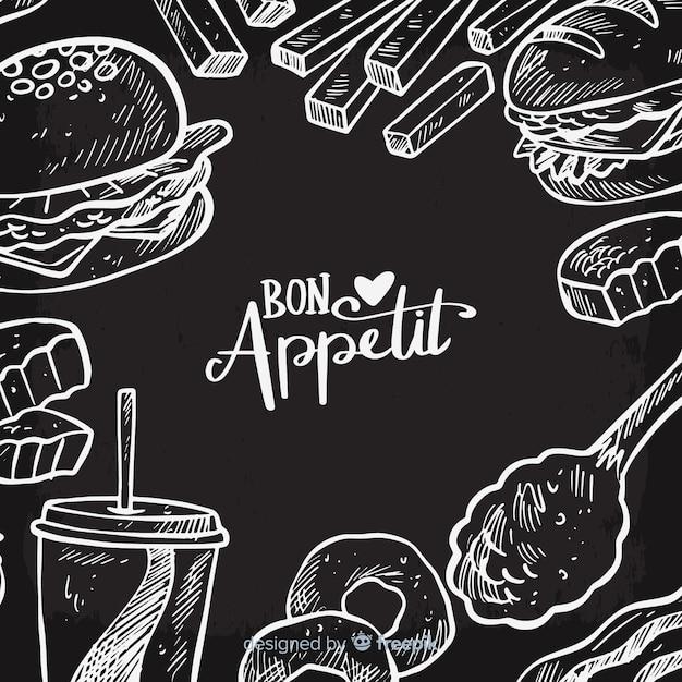 黒板食品の背景 無料ベクター