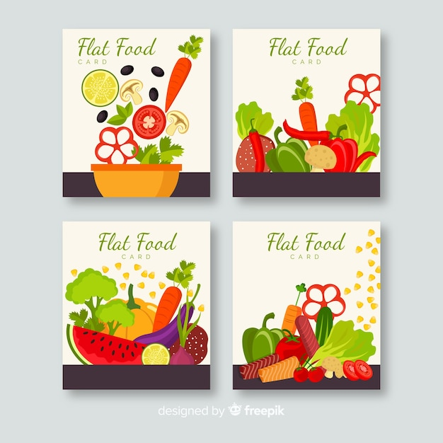 手描き美味しい食べ物カードセット 無料ベクター