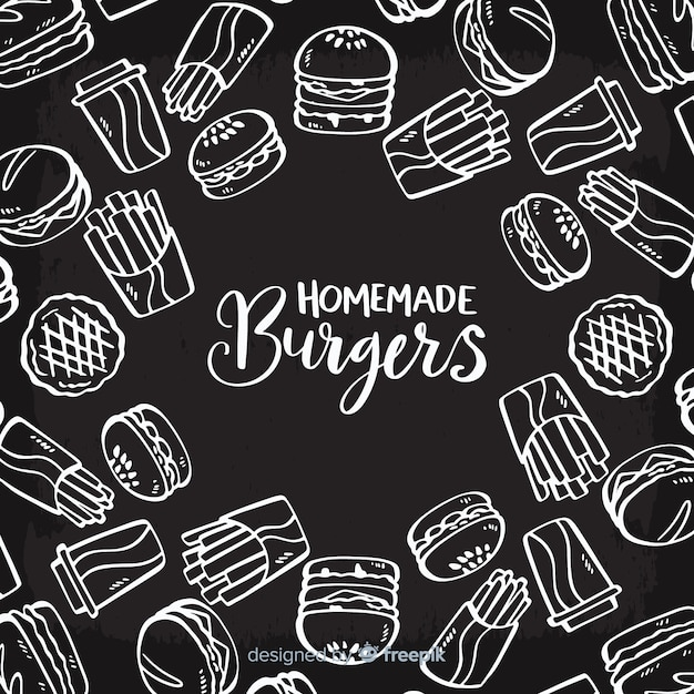 自家製ハンバーガーの背景 無料ベクター