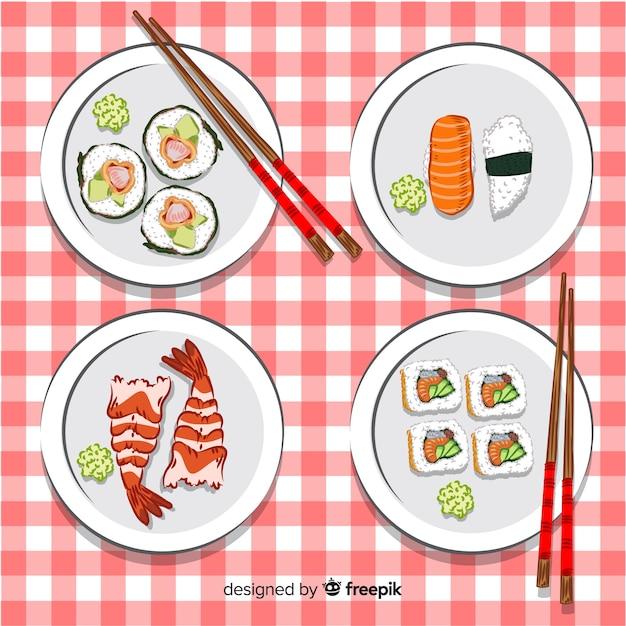 Коллекция рисованной суши Бесплатные векторы