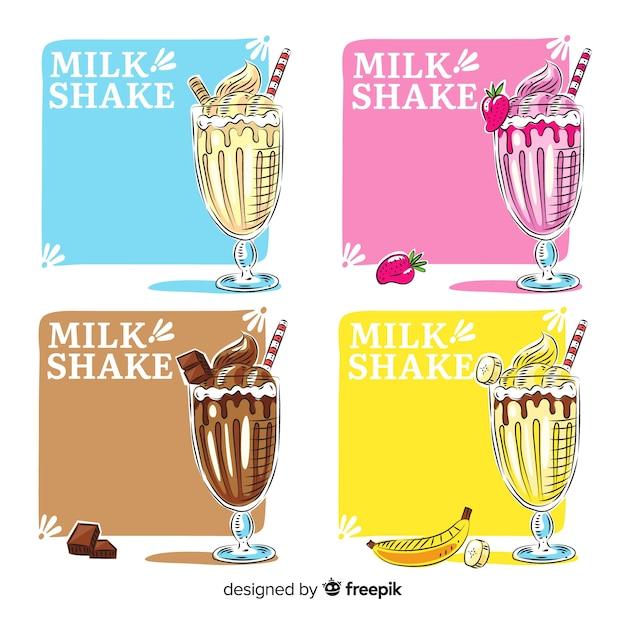 Коллекция рисованной молочный коктейль Бесплатные векторы